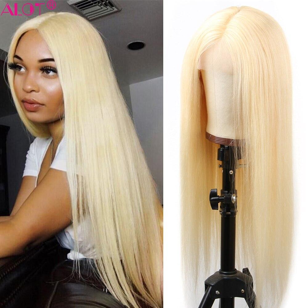 Glueless 613 светлый парик шнурка средней части бразильские Прямые Человеческие волосы Remy парики предварительно отобранные 13x1 парик шнурка 150%