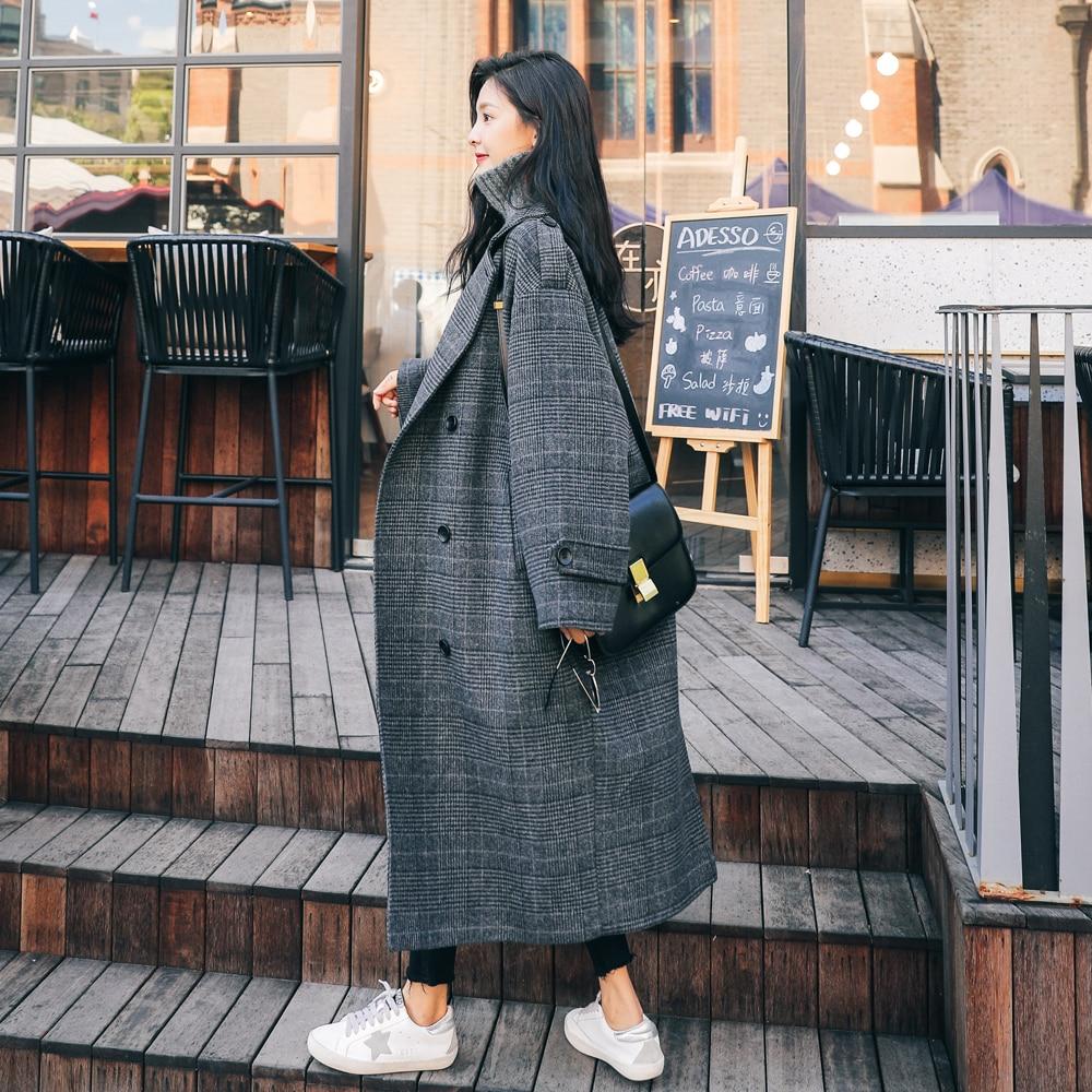 Abrigo de invierno Vintage europeo para mujer, abrigo largo a cuadros, ropa de mujer con doble botonadura, ropa holgada de gran tamaño para mujer - 2