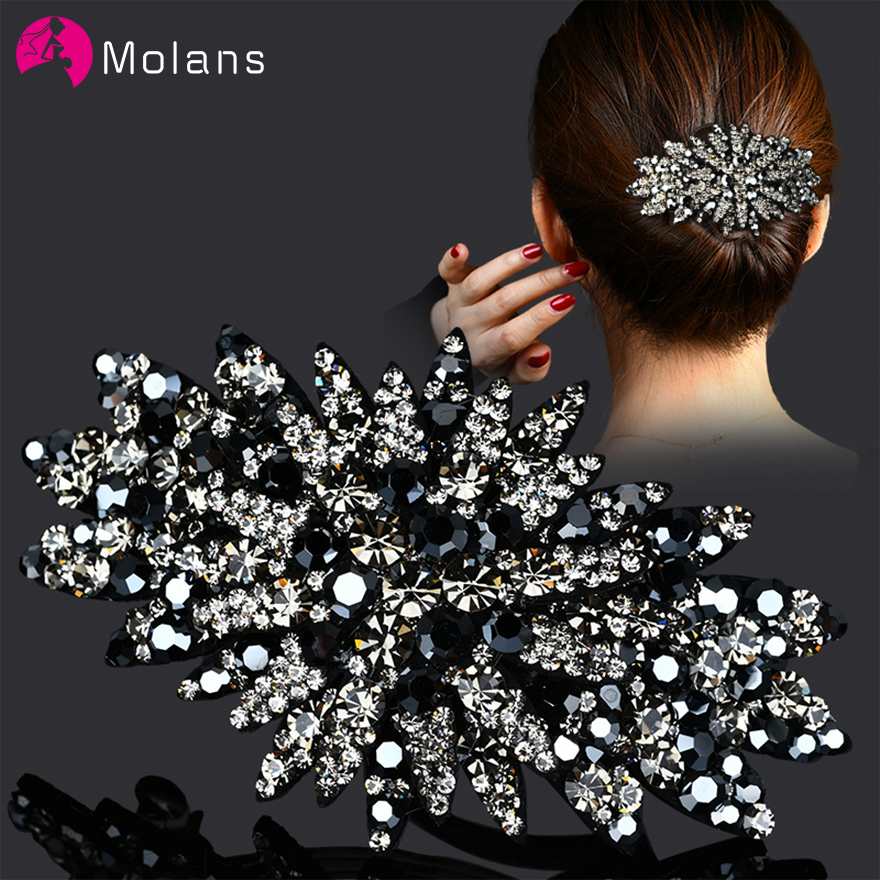 Molans Rhinestones Girls Side Bangs Clip 1PC Korean Hair Clips Women Hair Accessories Pearl Barrette Hair Pins Spring Clip