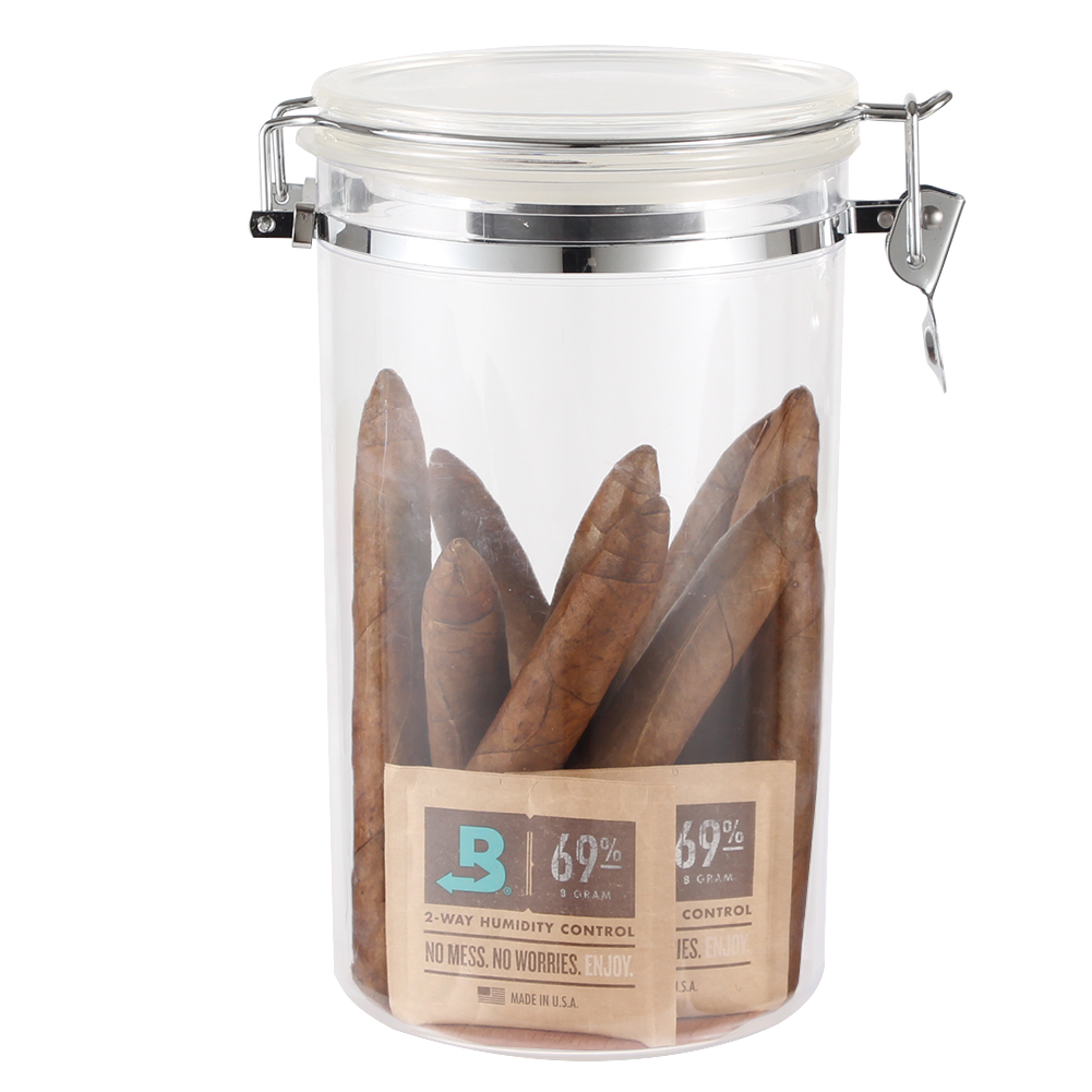 <font><b>Boveda</b></font> Plastic Humidor Cigar Tube Holder Large Capacity Portable Cigar Humidor Box W/ Humidifier Cigar Travel Jar image