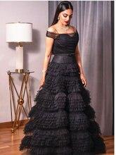 Женское винтажное многослойное платье черное пачка с открытыми