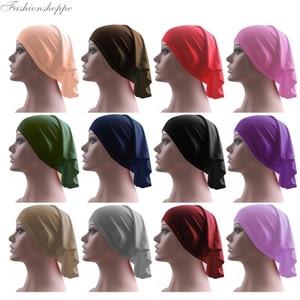 Muslim Islamic Arabian Hijab Tube Underscarf Veil Robe Abaya Inner Caps Hats Mercerized Cotton Elastic Adjustable 40cm*40cm