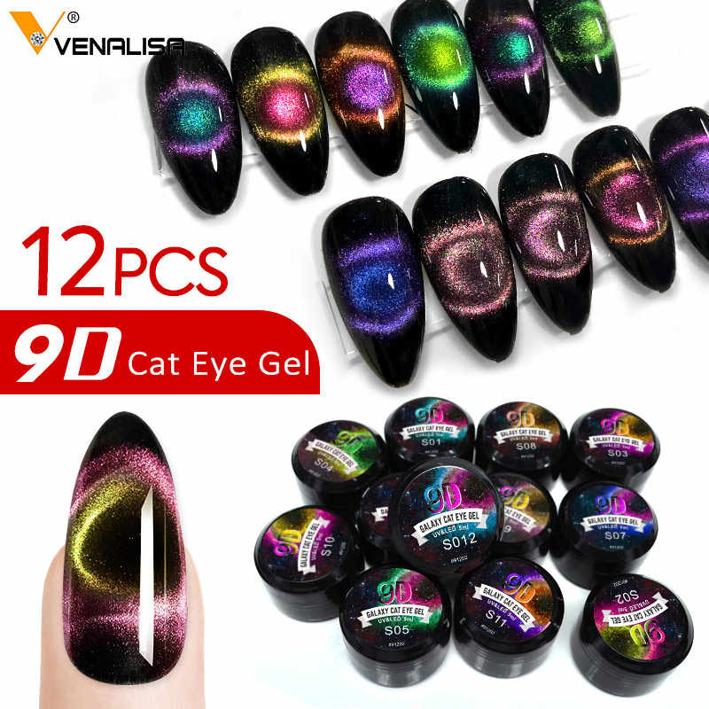 Venalisa Terbaru Enamel 9D Mata Kucing Magnetic Gel Uv Gel Cat Kuku Desain Seni Kuku Manicure Rendam Off Lacquer pernis 5 Ml