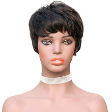 HJ Weave Beauty Short Bob Wig Brazilian Straight Full Machine Wigs For Black Women Natural Color Pre Plucked Human Hair Wigs(China)