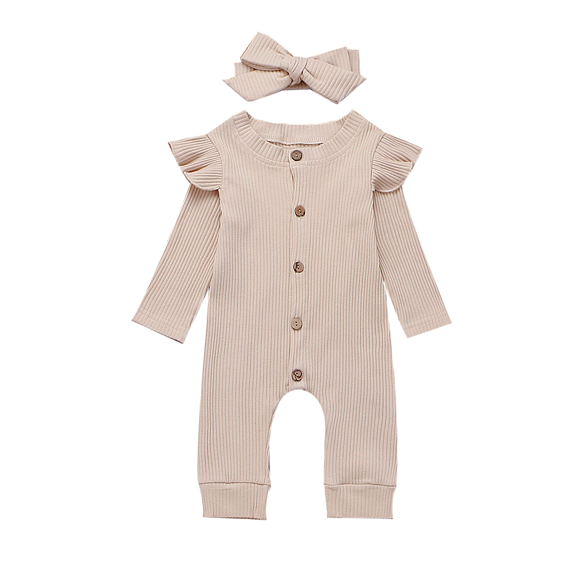 Newborn Infant Baby Girl Boy 2Pcs Autumn Clothes Set Knitted   Romper   Jumpsuit Outfits Ruffles Long Sleeve Autumn 4 Color 0-24M