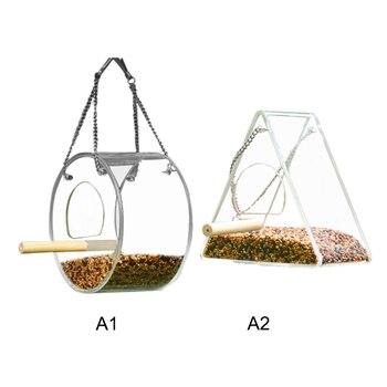Acrylic Bird Feeder Food Box Pet Bird Cage House Anti-Scatter Parrot Feeder Stand Round Triangle Bird Feeder 4