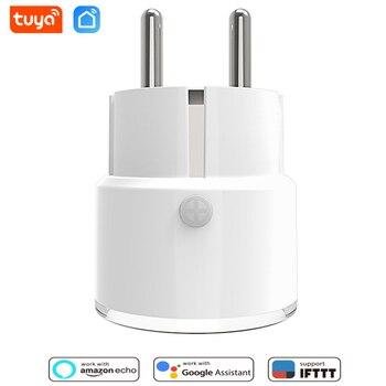 Tuya hembra FR vida inteligente Wifi inalámbrico 10A de enchufe de alimentación de Tuyasmart APP Sensor de luz Compatible con Alexa de Amazon, Google hembra