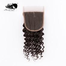 """Mocha волос глубокая волна Кружева Закрытие """" X 4"""" бразильские девственные волосы часть 10 дюймов-18 дюймов"""