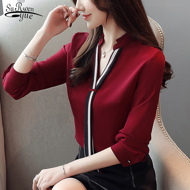 New Stand Collar Pullover Blouse Women Tops Chiffon Office Lady Long Sleeve White Red Women's Blouse Shirt Blusas Mujer 6469 50