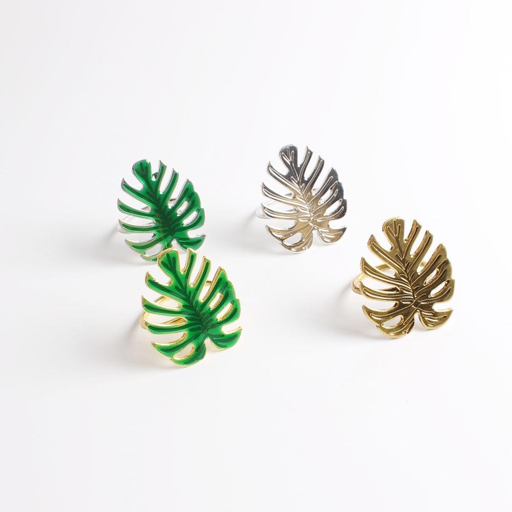 10 pçs metal verde tartaruga folha guardanapo