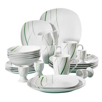 VEWEET AVIVA 20-Piece Kitchen Porcelain Dinner Set Tableware Plate Set Including 4*Egg Cup,Mug,Dessert Plate,Bowl,Dinner Plate
