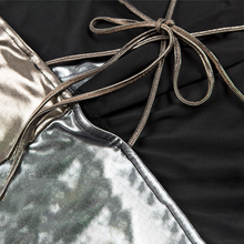 Gold Silver Patchwork Mini Dress Sexy Deep V Neck Criss Cross Spaghetti Strap Bandage Bodycon Dress