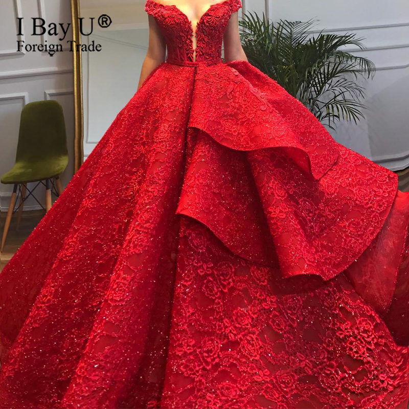 Robe De Soiree 2020 Red Asymmetrical Wedding Dress Luxury Appliques Off Shoulder Long Ball Gown Formal Engagement Bridal Dress