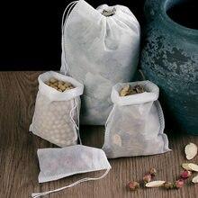 Kitchen Accessories 100 Pieces 5.5 X 7 Cm Empty Polyester Mesh Drawstring Tea Bag Tea Food Grade Tea Bag Filter Tea Set Tea Bag