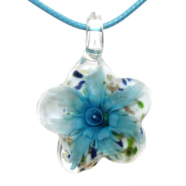 Fashion Lampwork Glass Women, girls Pendants Round Handmade Gold Sand Lampwork Pendants, with Flower  Pendants Necklace