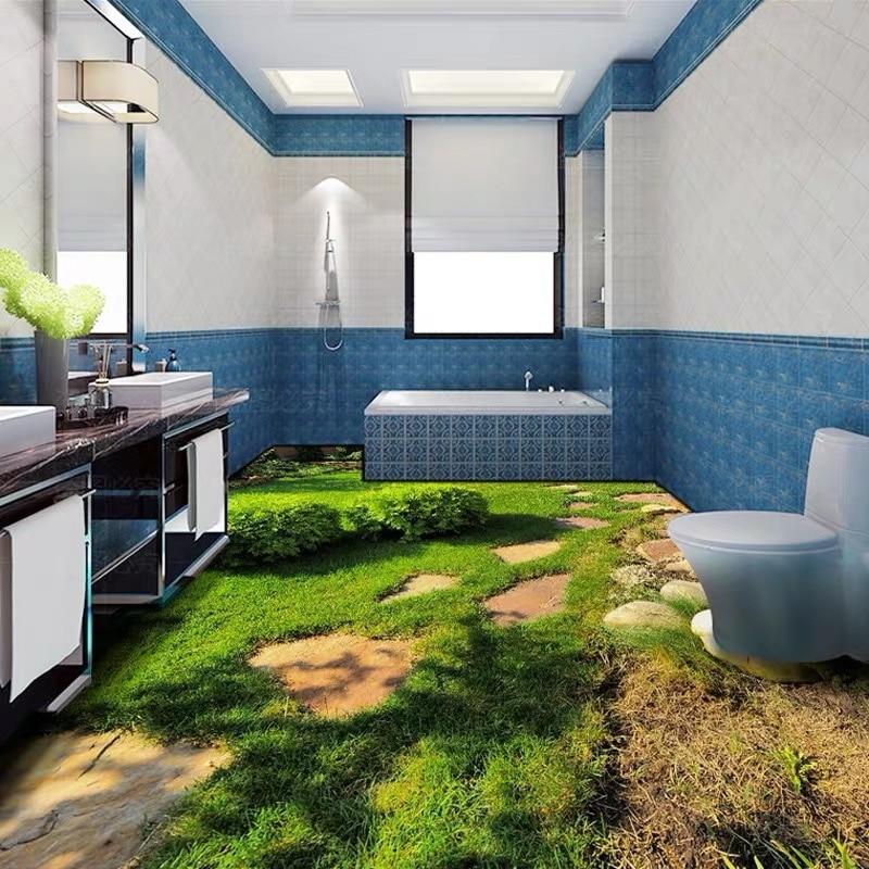 Bacaz Exfoliator Lawn Grass Flooring Mural Stone Road 3D Floor Sticker PVC Self Adhesive 3D Floor Mural Wallpaper Art Decor