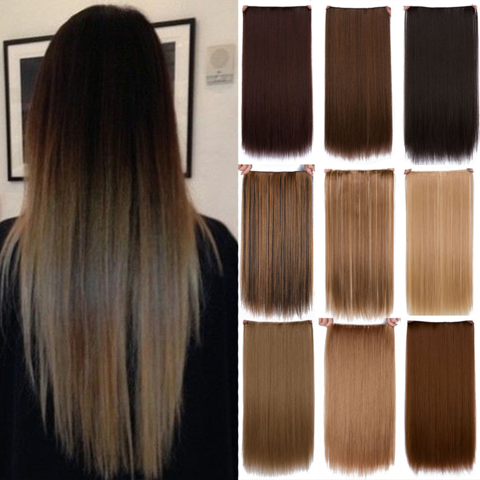 SHANGKE 24'' Long Straight One Piece Halo Hair Extension flip in false hair Hairpieces title=