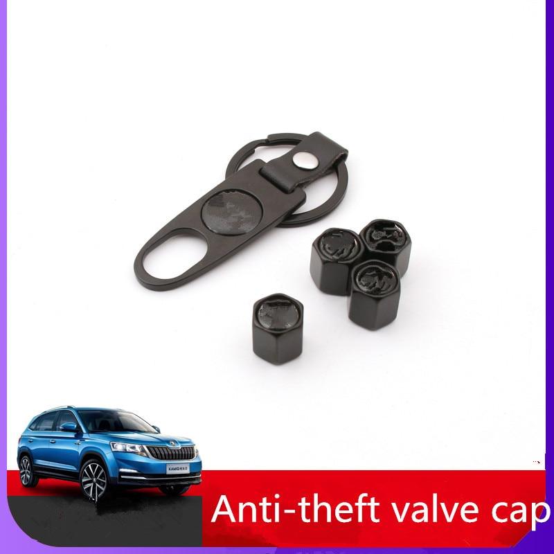 4x For New Skoda Black Car Wheel Tire Valve Stem Air Dust Cap Cover Keychain