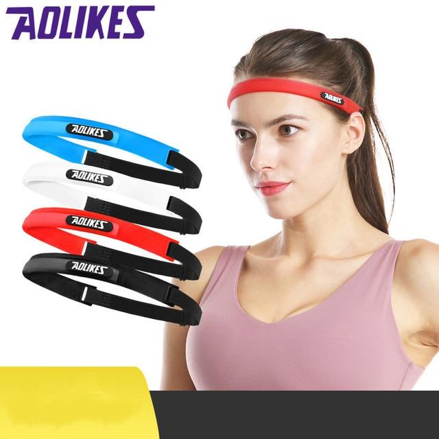 AOLIKES Men Women Sports Hair Bands Elastic Pilates Yoga Silicone Guiding Belt Sweat Head Band Headwear