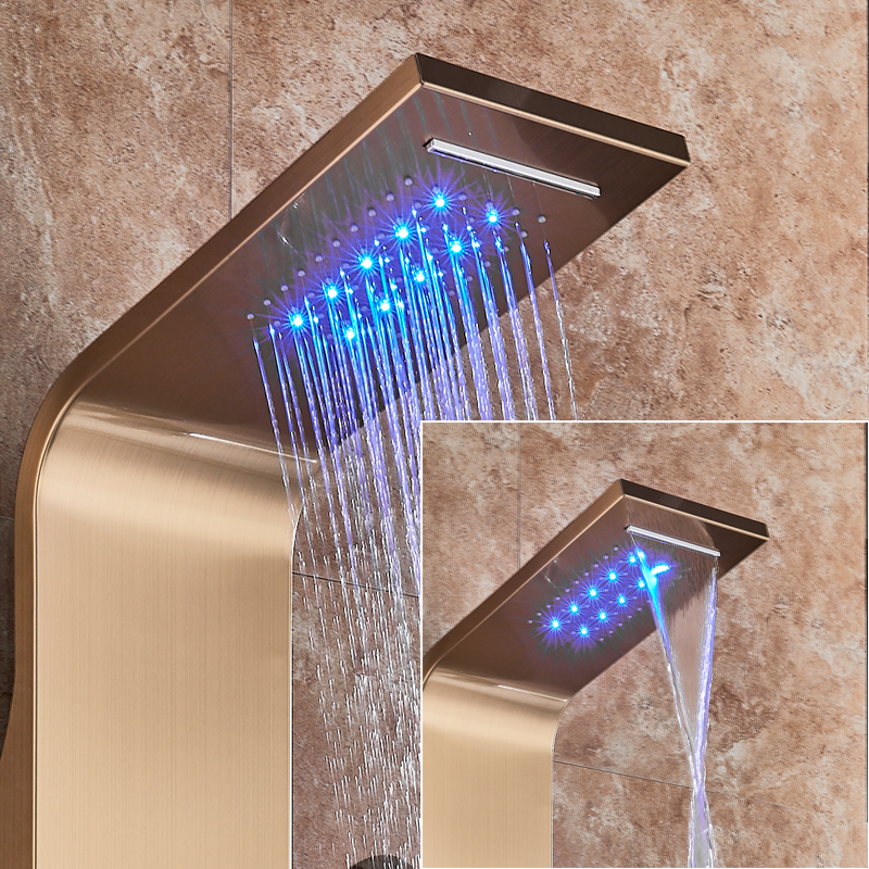 Golden Shower Panel Waterfall Rain Shower Column Wall Mounted LED Light Bathroom Shower System Swivel Massage Jet Bidet Sprayer