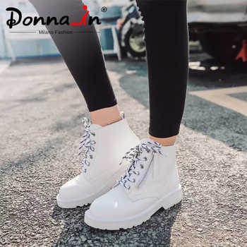Donna-in Warm Wool Woman Ankle Boots Autumn Winter Platform Shoes Lace Up Genuine leather White Matin Boots Snow With Fur Female - DISCOUNT ITEM  51% OFF All Category