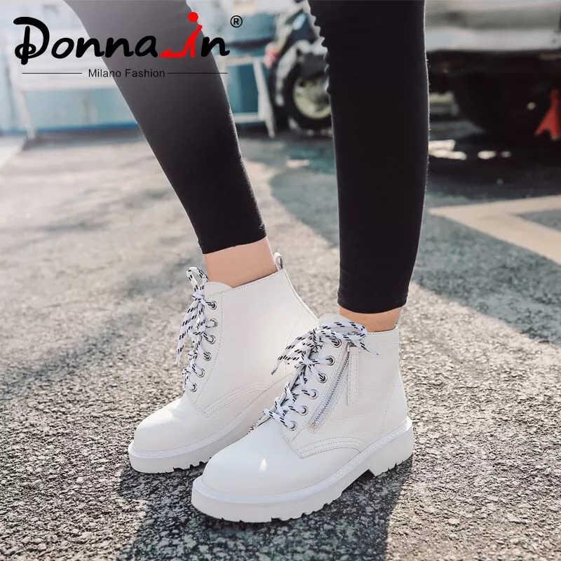 Donna-moda topuklu kadın yarım çizmeler İlkbahar yaz Platform ayakkabılar 2020 Lace Up Zip hakiki deri beyaz martin çizmeler kadın