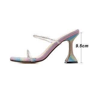 Image 4 - Kcenid zapatillas con diamantes de imitación para mujer, zapatos femeninos de tacón alto, de fiesta, para verano, 2020