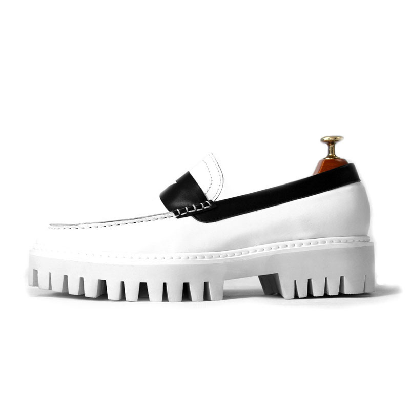 Classic White Platform Shoes Men Retro Genuine Leather Sneakers Casual Slip On Zapatos Hombre Loafers Business Formal Shoes Male