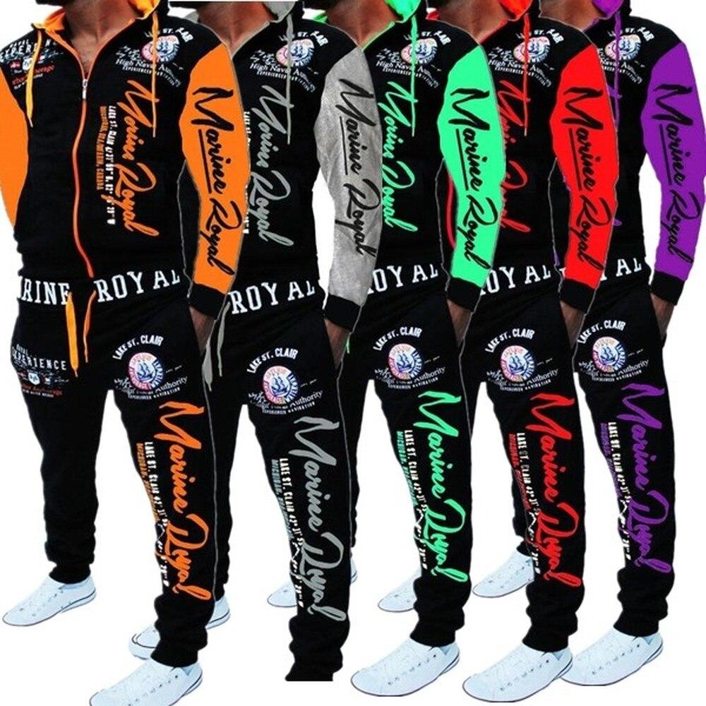 ZOGAA Men Track Suit Hooded Jacket Sweatsuit Mens Sports Suits Brand New Sportwear Men Jogger Set Printed Tracksuit Men Clothes