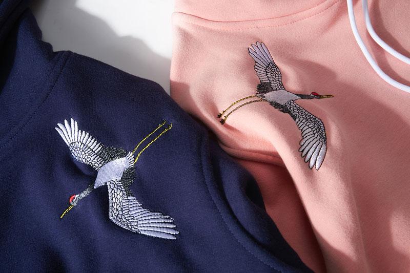 2019 Hip Hop Oversize Casual pulóver sudadera rosa Naby azul pareja Harajuku bordado grullas polar Hoodies Streetwear hombres - 6