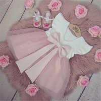 Vestido de verano de princesa con volantes, manga, encaje de perlas, Patchwork, lazo trasero, tutú