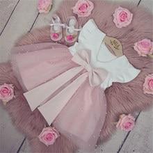 0-5Y yaz prenses bebek bebek kız elbise Ruffles kollu katı inci dantel Patchwork geri ilmek Tutu elbise