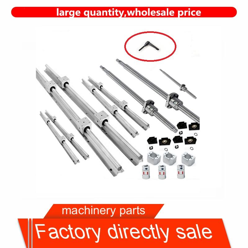 6 sets of linear guides SBR16 L300 / 800 / 1200mm + SFU1605-300 / 800 / 1200mm ball screw + 3BK12 / BF12 + 3 CNC tool coupler