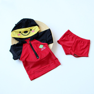 KID'S Swimwear Wholesale Boy Split Swimsuit Cartoon Split Type Modeling Bathing Suit + Swim Cap Ladybug-