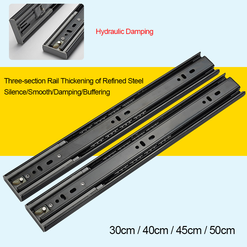 2pcs Drawer Slides Silent Buffer Damping Slide Cabinet Drawer Self locking Rails