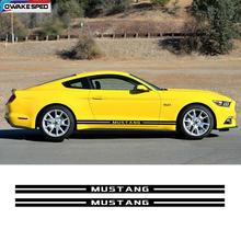 цена на 1set Racing Sport Stripes Auto Door Side Skirt Stickers Car Styling Body Decor Vinyl Decals For Ford Mustang GT Shelby Boss 302