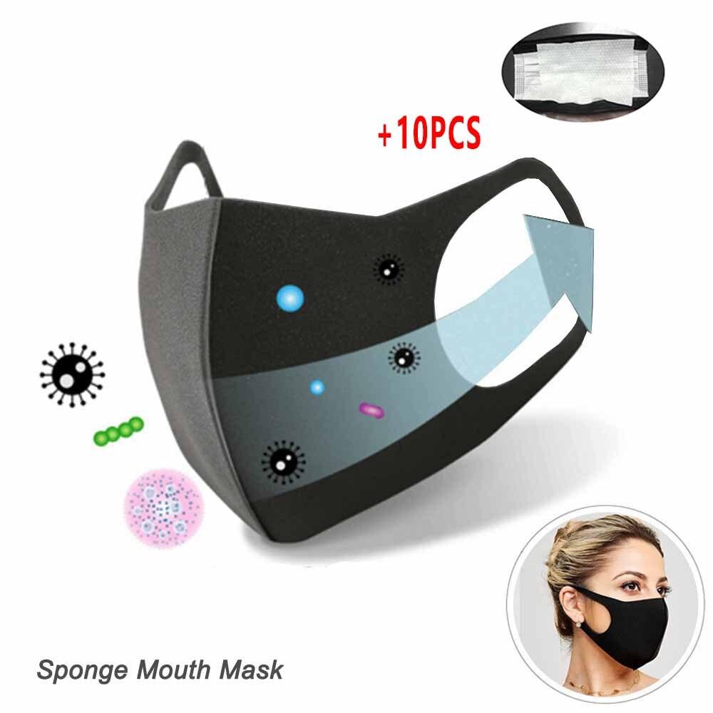 11pcs ผ้าฝ้าย PM2.5 สีดำหน้ากากป้องกันฝุ่นหน้ากาก Pad เปิดใช้งานคาร์บอนกรองแบคทีเรีย PROOF Flu Face mascherine Antivirus ห...