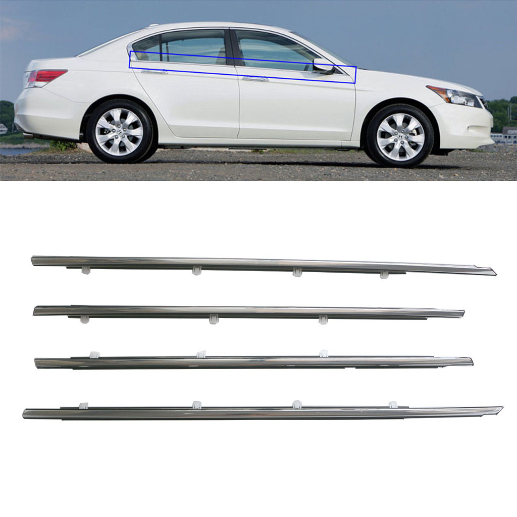 Chrome Outside Window Door Belt Weatherstrip Weather Strip Seal Trim For <font><b>Honda</b></font> <font><b>Accord</b></font> 2008 <font><b>2009</b></font> 2010 2011 2012 2013 72910TA0A01 image