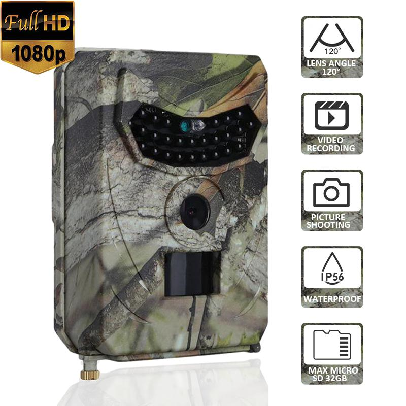PR100 foto de cámara Trap 12MP Wildlife Trail visión nocturna Trail cámara de vídeo térmica para caza juego de exploración