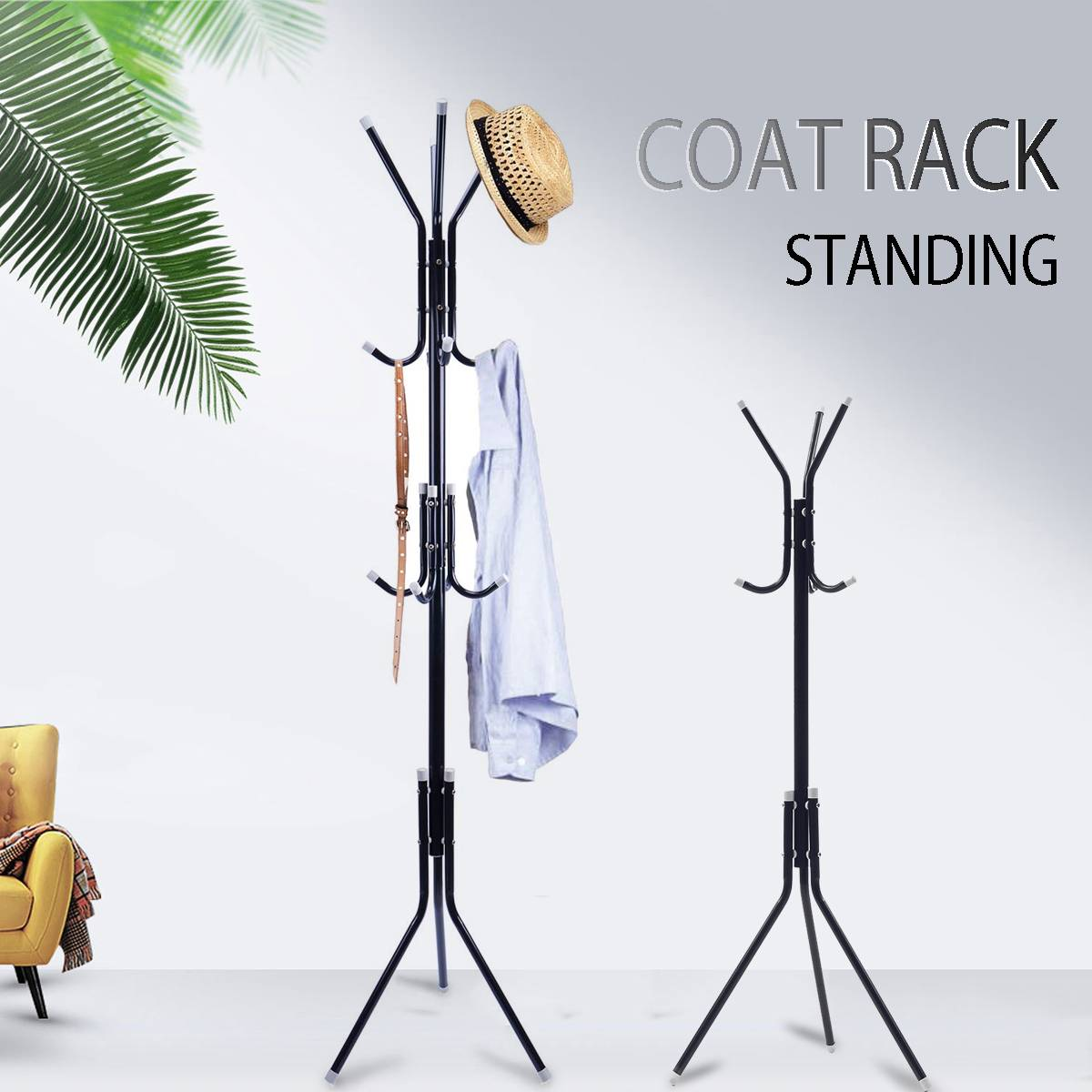 New Simple Metal Coat Rack Assembled Living Room Hat Clothing Display Stand Multi Hooks Hanging Clothes Home Furniture
