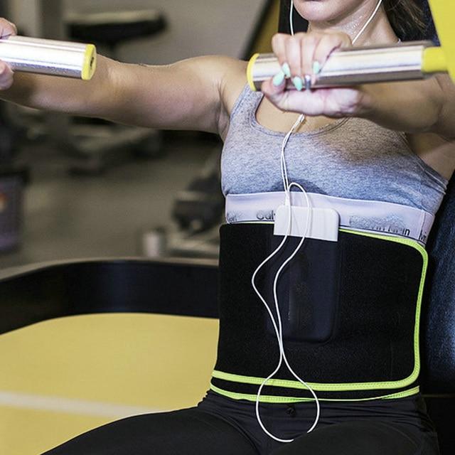 Women Men Sweat Wrap Waist Trimmer Neoprene Protective Weight Loss With Pocket Black Workout Exercise Belt Adjustable Flexible 3