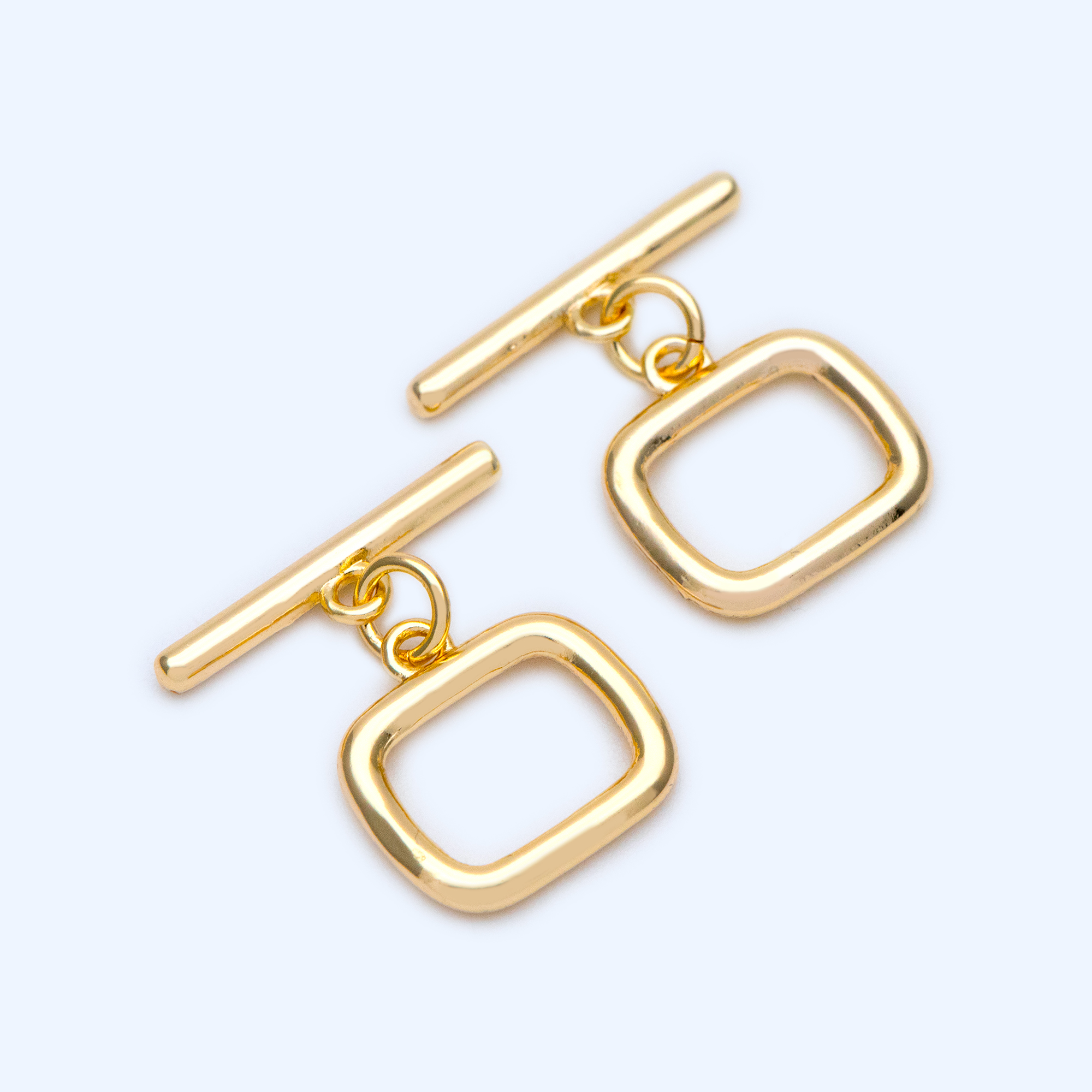10pcs Gold Simple Square Toggle Clasp, Jewelry Clasp, 18K Gold Filled, Close Clasp (GB-1228)