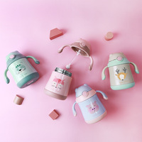 Cartoon Baby Thermos Cup Bebe Learn Drink Cup Kids Pipette Cup Christmas Gift Lovely Cup Water Bottle
