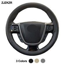 Costura à mão volante do carro capa envoltório para faw besturn x80 2013 2014 2015 2016 2017 2018 preto bege cinza couro artificial
