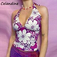 Celandine 90s Tee Tie Dye Print Casual Women Y2K Sexy Skinny Halter Cute Croset Crop Tops 2021 Summer Lace Up Bralette Tank Tops