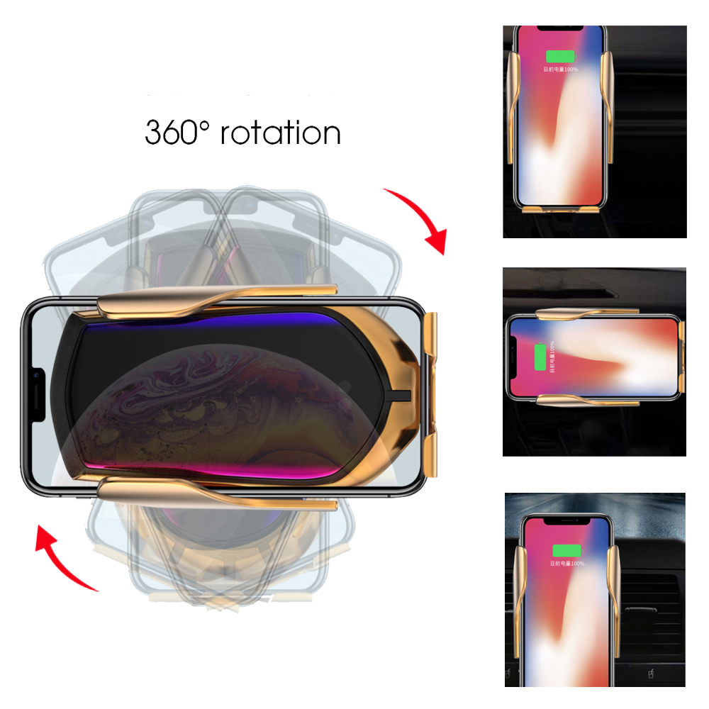 Image 3 - R1 Automatic Clamping 10W Car Wireless Charger Infrared Induction Qi Wireless Charger Car Phone Holder  For Phone Sliver/Gold-in Mobile Phone Chargers from Cellphones & Telecommunications on