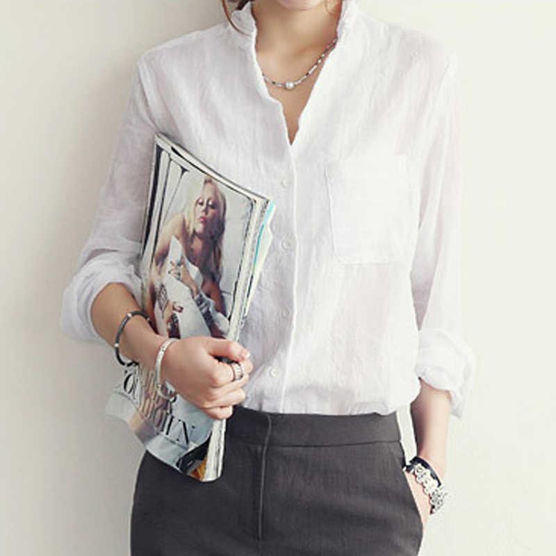 女性のファッション2020春夏コットン白シャツ女性長袖ブラウス韓国オフィスの女性の服blusas 3511