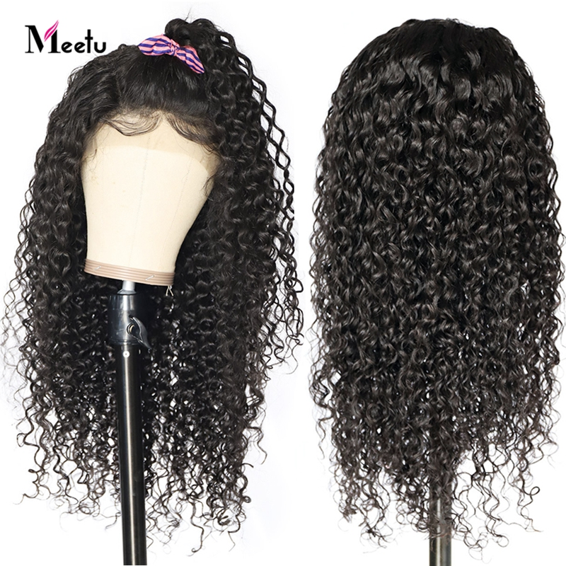 Meetu 4X4 Closure Wig Curly Human Hair Wig For Black Women 8-26 Inch Peruvian Remy Lace Front Wig Pre Plucked With Baby Hair