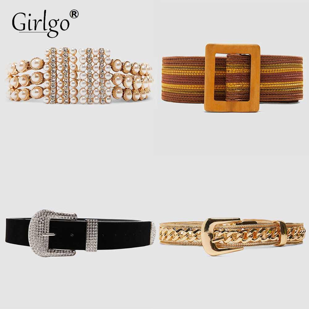 Girlgo Vintage Love Heart Metal Pearls ZA Belt Chains For Women 2019 Trendy Body Accessories Wedding Jewelry Gifts Wholesale