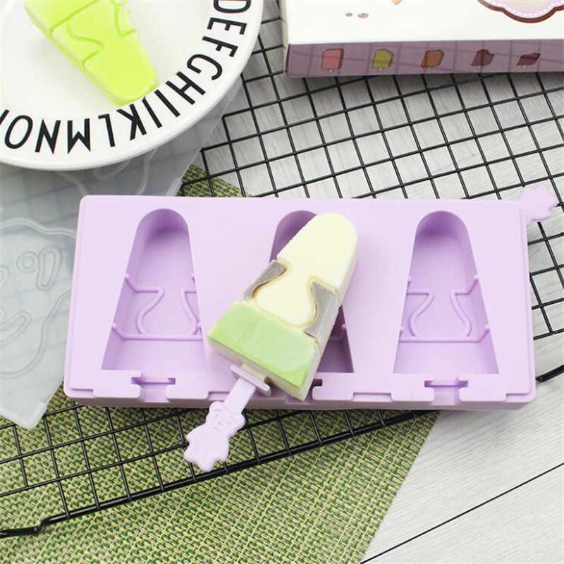 Sáng Tạo Hoạt Hình Tán Kem Silicon Popsicle Khuôn Có Nắp Bao Da Nhà Máy Làm Kem Popsicle Kem Khay Popsicle gậy Chụp Hình